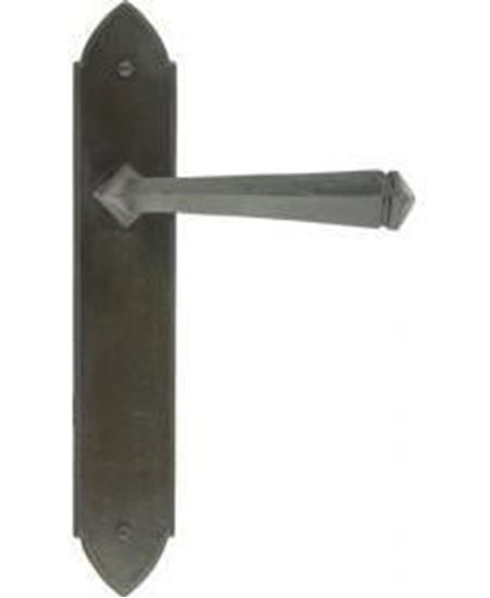 Gothic Lever Latch Set in Black. Available to compliment your Oak Door Order from Venables Brohers Ltd.