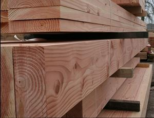Planed All Round Douglas Fir Beams in Venables Brothers Yard.