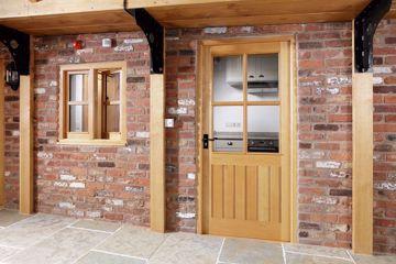 Half Glazed 4 Pane Door in Solid Oak. In stock at venables brothers ltd.